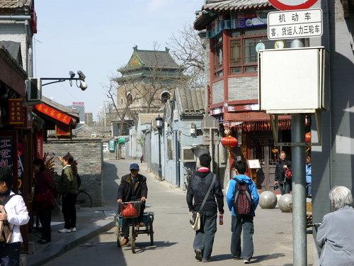 De Beltoren gezien vanuit de hutongs in Beijing