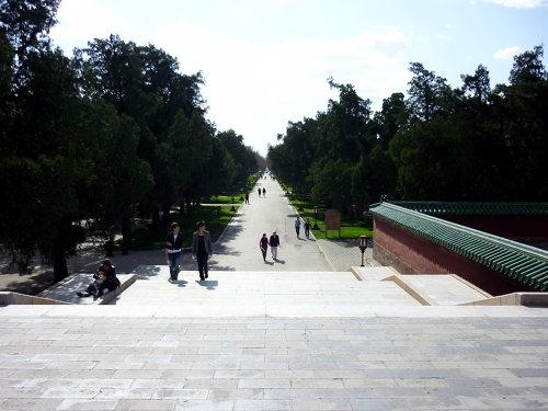 Het uitgestrekte en boomrijke park van de Tempel van de Hemel